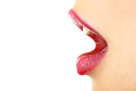 woman mouth open: Beautiful female lips, isolated on white Stock Photo