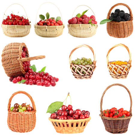 Collage of fresh berries isolated on white photo