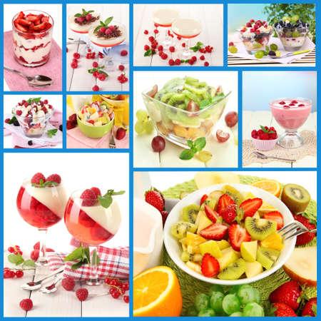 Fruit dessert collage photo