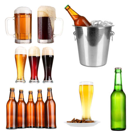 Beer collage, isolated on white photo
