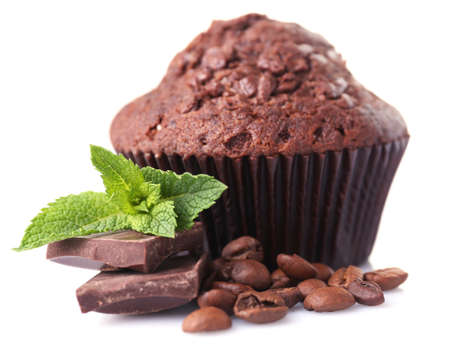 Chocolate muffin isolated on white photo