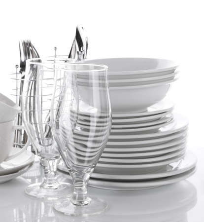 Clean dishes isolated on white Stock Photo