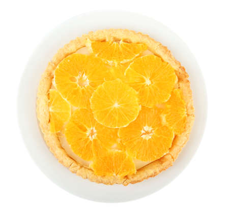 orange tart: Homemade orange tart isolated on white