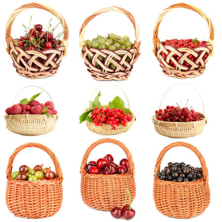 Collage of berries in baskets isolated on white photo