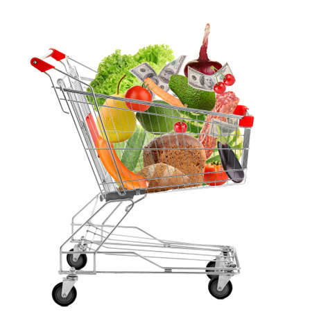 Full shopping trolley, isolated on white photo