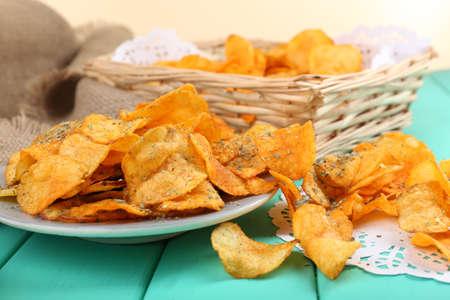 healthy snacks: Homemade potato chips, close up Stock Photo