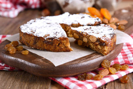 candied fruits: Delicious cake panforte on table close-up