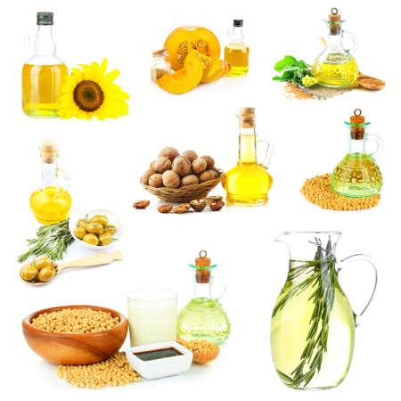 cooking oil: Oil collage, isolated on white Stock Photo