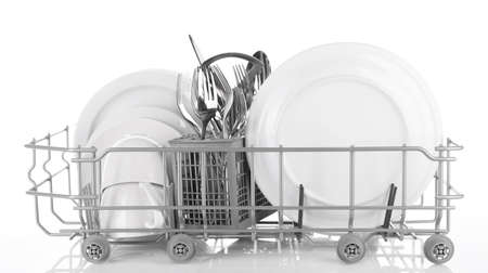 Clean dishes drying on metal dish rack, isolated on white photo