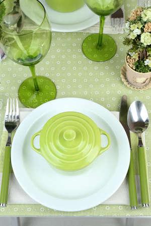 Trendy table setting in restaurant photo
