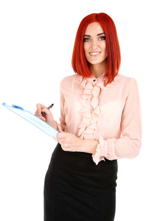 Young beautiful business woman holding folder isolated on white