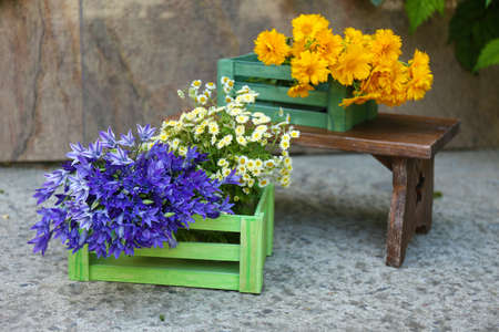 Garden decoration with wildflowers, outdoors photo