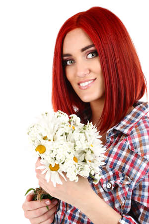 Beautiful young woman holding bouquet isolated on white photo