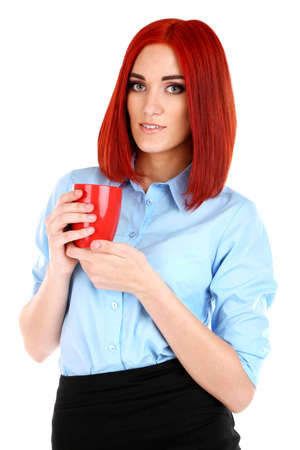 Young beautiful business woman holding cup isolated on white