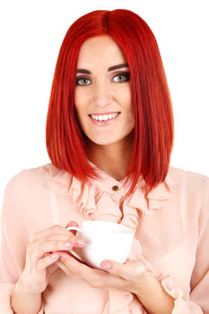 Young beautiful business woman holding cup close up Stock Photo