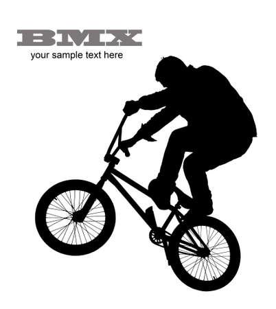 bmx bike: Young boy on BMX bike isolated on white
