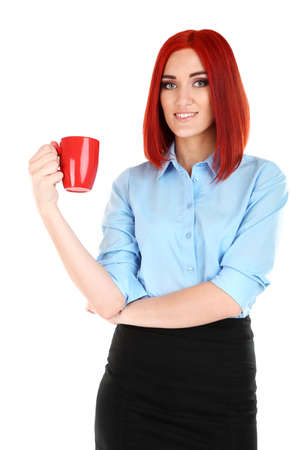 Young beautiful business woman holding cup isolated on white photo