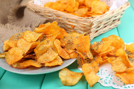 potato chip: Homemade potato chips, close up Stock Photo