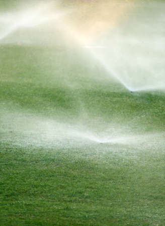 Automatic sprinklers watering grass photo
