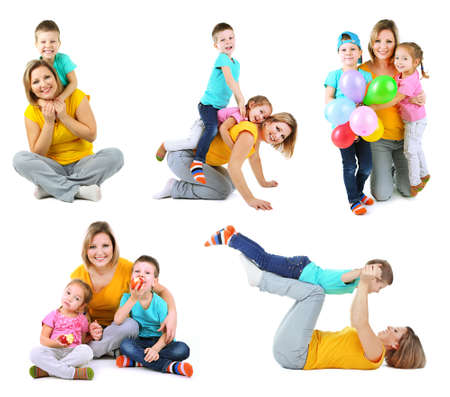Set photos of happy families isolated on white photo