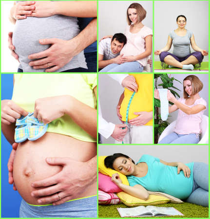 Collage of photos with pregnant girls photo
