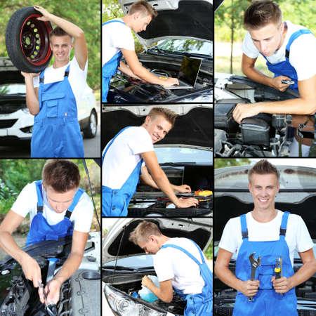 Collage of car mechanic photo