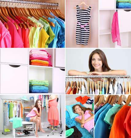 Girl choosing cloth, collage photo