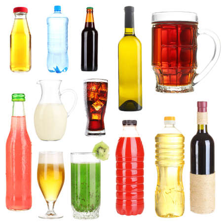 Collage of different drinks isolated on white photo