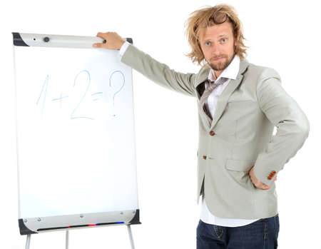 funny doctor: Funny doctor with board isolated on white