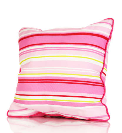 Pink bright pillow isolated on white photo