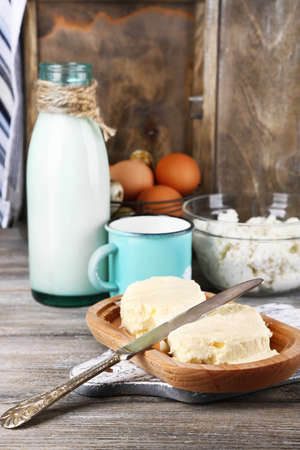 dairy products: Dairy products and fresh eggs  on wooden background Stock Photo