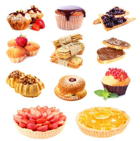 Sweet food collage isolated on white photo