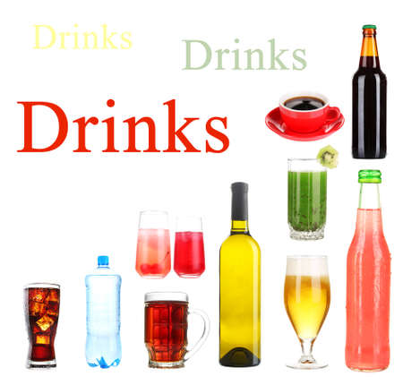 Drinks collage isolated on white photo
