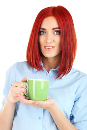 careerists: Young beautiful business woman holding cup close up Stock Photo