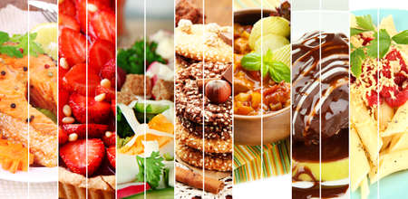 food buffet: Collage of delicious food close-up