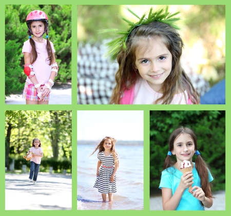 Collage of photo with children playing outside photo