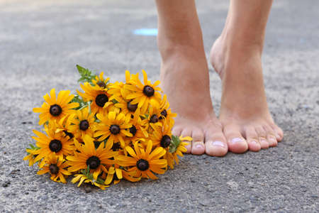 Beautiful Rudbeckia flowers and female foots, outdoors photo