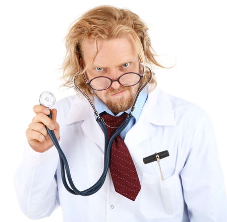 funny glasses: Funny doctor in glasses with stethoscope isolated on white