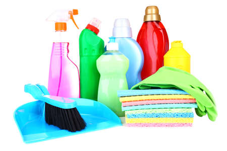 Cleaning products isolated on white photo