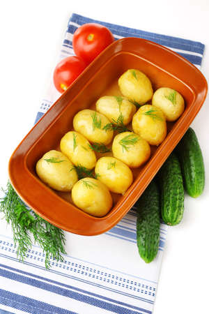 Young boiled potatoes, close up  photo
