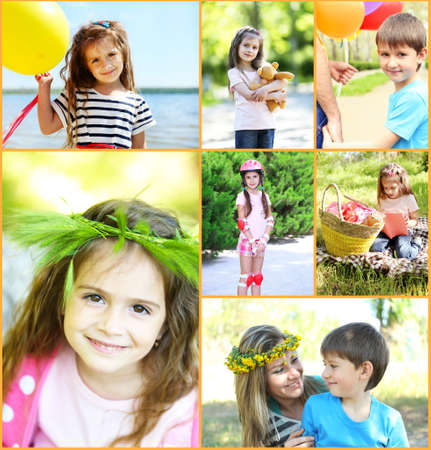 Collage of photo with children playing at park photo