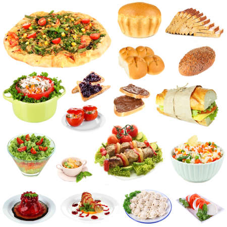 Food collage isolated on white photo