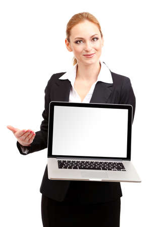 Portrait of woman with laptop, isolated on white photo