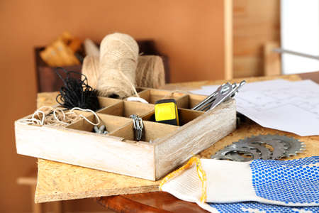 orderly: Working tools on table, in workshop