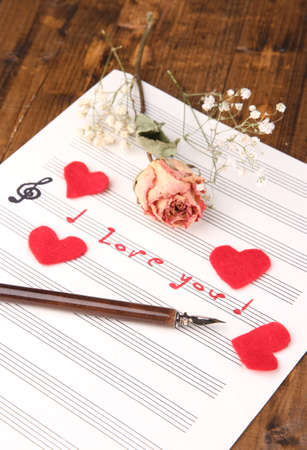 sonata: Music notes in music note book. Concept of love melody Stock Photo