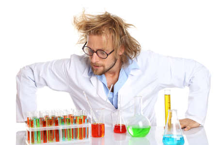 experimenter: Crazy scientist working with tubes isolated on white Stock Photo