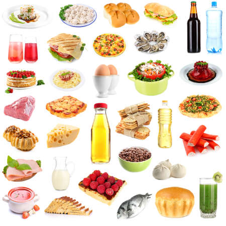 Food and drinks collage isolated on white photo
