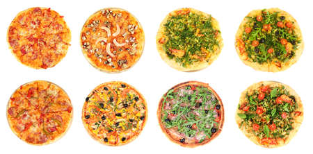 Collage of different pizza isolated on white photo