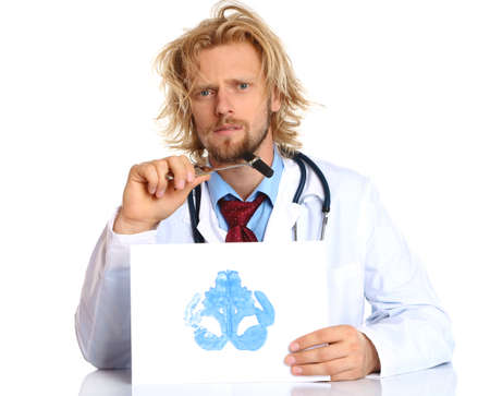 neurosis: Funny psychotherapist holding Rorschach test