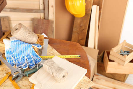 conferring: Working tools on desk, in workshop